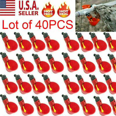 40 Poultry Water Drinking Cups Chicken Hen Plastic Automatic Drinker USA