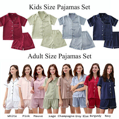 Womens Satin Pyjamas Set Silky Summer Lounge Wear Ladies Pajamas Short Sleeve