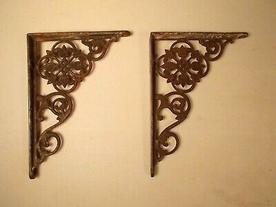 "Antique Pair Of Victorian Floral Cast Iron Shelf Brackets 7"" x 5"" Made in USA"