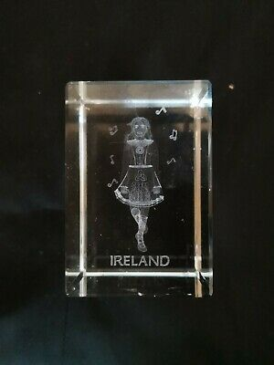 """Crystal Clear Glass 3d Laser Etched Irish Dancer Cube Paperweight 3""""x2""""x2"""""""