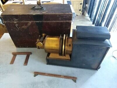Vintage Magic Lantern Brass Slide Projector Early 1900S