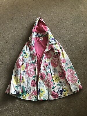 Girls Floral Hooded Zip Raincoat Jacket Mac Age 11Yrs Great Condition