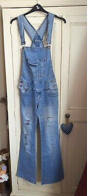 NWT Maia womens girls blue denim dungarees size 8 flares bootleg distressed ABBA