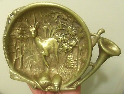 Antique Yellow Bronze Victorian Change Tray- Buck Deer / Elk Hunting