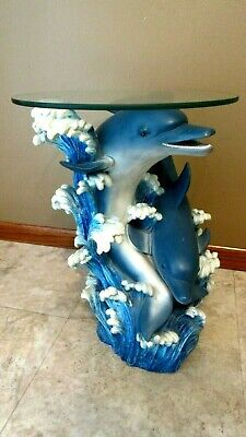 Round Glass & Resin Dolphins Fish Tropical Accent Table Patio/Pool Decor