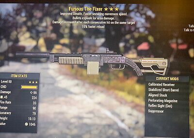 fallout 76 xbox one Furious Explosive Fixer 15% Faster Reload GOD ROLL