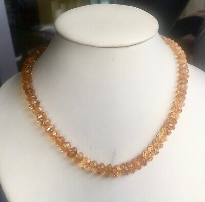collier ancien citrines, fermoir or / vintage citrines necklace , gold clasp