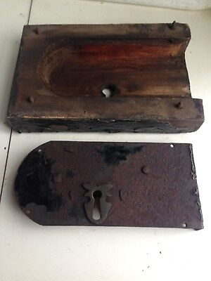 Very Old Antique Iron Lock  with wooden surround  no key