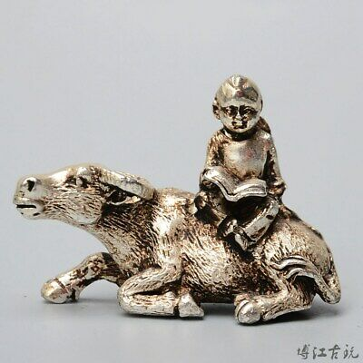 Collectable Old Miao Silver Hand Carve Fairchild Ride Cow Luck Delicate Statue