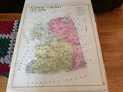 Original 1912 map of NASSAU COUNTY BY NEW CENTURY MAP CO IN GOOD CONDITION.