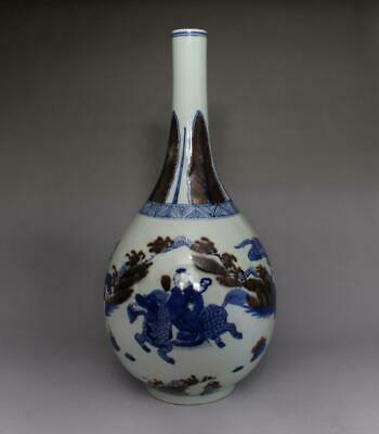 Antique Old Chinese Blue And White Porcelain Vase 31cm With Kylin