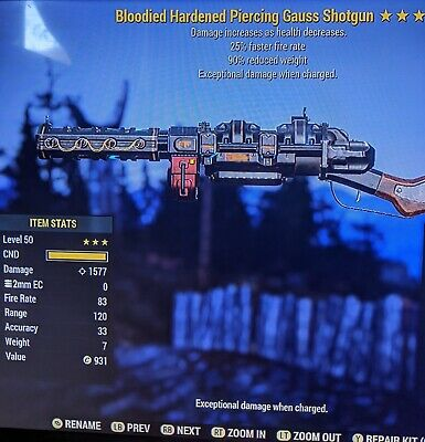 fallout 76 xbox one Bloodied Faster Fire Rate Gauss Shotgun 90% RW (NOTES)