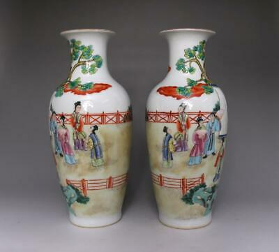 Old Pair Chinese Famille Rose Porcelain Vases Yongzheng Mark With Ladies