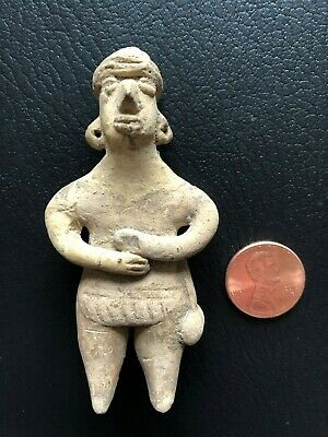 Pre-Columbian Colima Standing Flat Figure 100 BC - 250 AD, solid clay.
