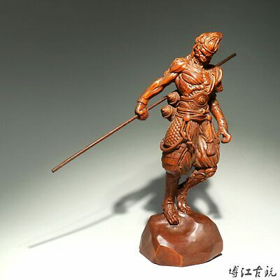 Collectable China Old Boxwood Hand-Carved Fighting Fo Moral Auspicious Statue