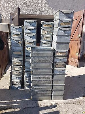 Lot de 5 casiers industriel empilables bac usine métal design boxes