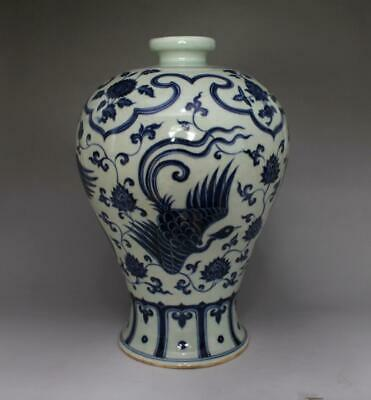 Old 18th Chinese Blue And White Porcelain Phoenix Vase With Xuande Mark