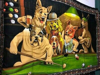 Vintage Cotton Tapestry Wall Hanging DTC Dogs Playing Pool Billards Rare