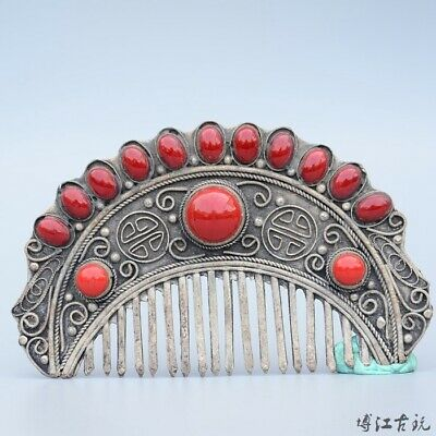 Collectable China Old Miao Silver Inlay Agate Hand-Carved Bloomy Flower Comb