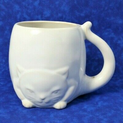 Stoneware Cat Mug With Tail Handle White Glaze Coffee Cup