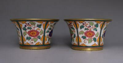 Old Pair Chinese Famille Rose Porcelain Bowl Cup Xuande Marked