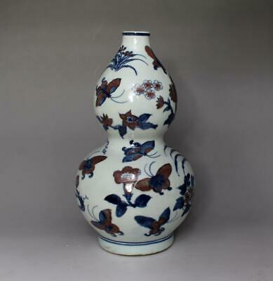 Old Chinese Blue And White Porcelain Butterfly Gourd Vase