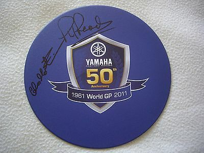 Phil Read & Chas Mortimer signed Yamaha mousemat with anniversary booklet