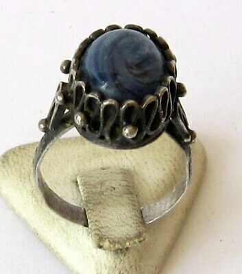 Fantastic Post Medieval Silver Ring With Beautiful Filigree And Gray Stone # 354