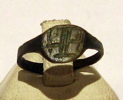 Beautiful Early Post Medieval Bronze Ring With Engraving Cross On The Top # 219