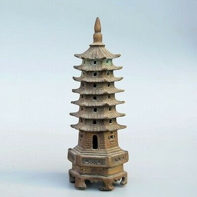 Collection China Old Bronze Hand-Carved Delicate Exorcism Buddhism Pagoda Statue