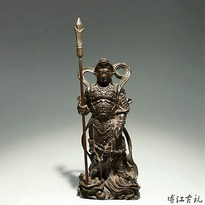 Collectable Chinese Old Red Copper Hand-Carved Door-God Delicate Decor Statue
