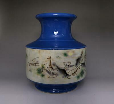 Old Chinese Famille Rose Porcelain Fish Vase Zhang Peixuan Marked