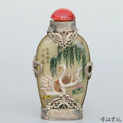 Collect Old Miao Silver Armour Glass Hand-Carved Butterfly Noble Snuff Bottle