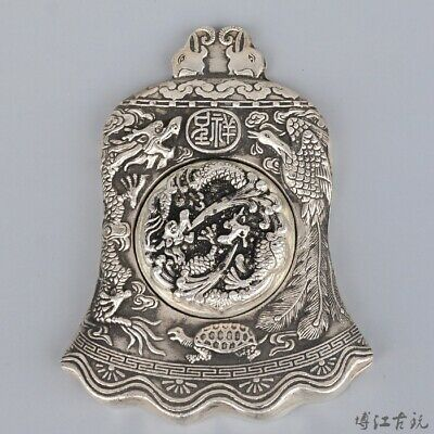 Collectable Old Miao Silver Hand-Carved Myth Dragon & Phoenix Luck Ink Cartridge