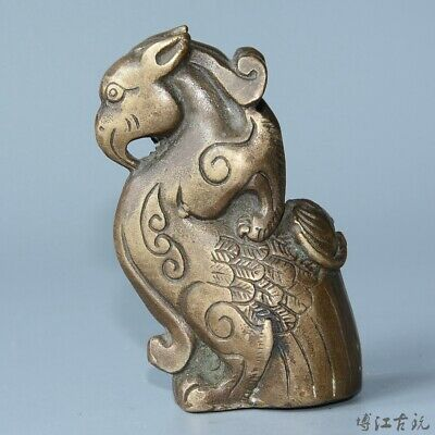 Collect China Old Bronze Hand-Carved Myth Kylin Moral Auspicious Decorate Statue