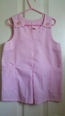little girls pink and white short dungarees age 2 to 3 years