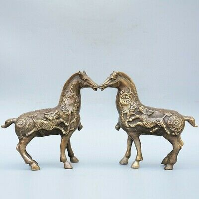 Collect China Old Bronze Hand-Carved Horse & Kylin & Lotus A Pair Luck Statue