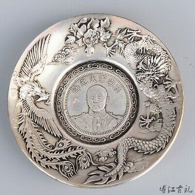 Collectable China Old Miao Silver Hand-Carved Myth Dragon & Phoenix Luck Dish