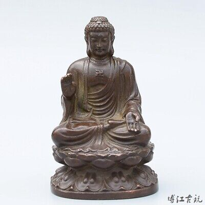 Collect China Old Red Copper Hand-Carved Lotus Kwan-Yin Exorcism Decorate Statue
