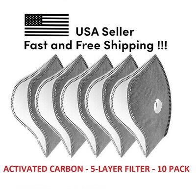 USA Activated Carbon Filter Cycling Air Purifying Face Mask Anti Pollution 10