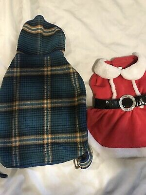 Medium Size Dog Outfits Plaid And Christmas Style Preowned