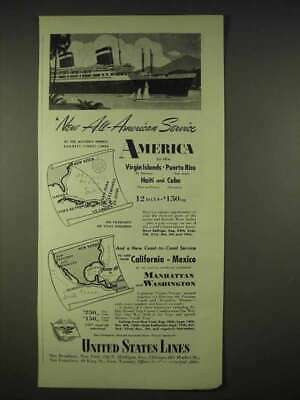 1940 United States Lines Cruise Ad - All-American