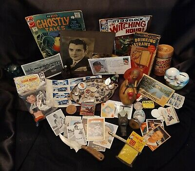 Junk Drawer Lot-Old Toys Signatures Stamps Baseball Cards Watch Vintage