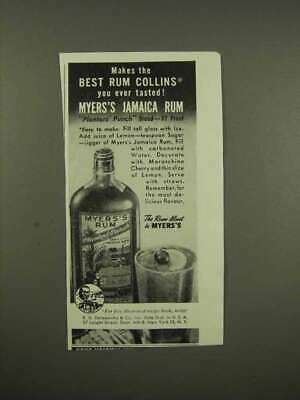 1944 Myers's Rum Ad - Makes the Best Rum Collins