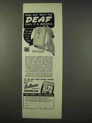 1947 Beltone Mono-Pac Hearing Aid Ad - A Miracle