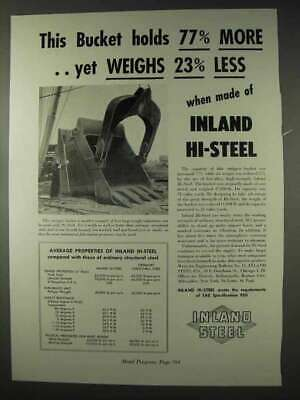 1947 Inland Steel Ad - Bucket Holds More Weighs Less