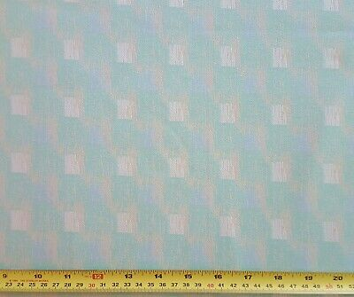 3 Yards of Vintage Polyester Knit Fabric Green Blue Geometric Print