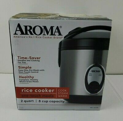 Aroma Rice Cooker - 8 Cup - Nonstick Stainless Steel - New