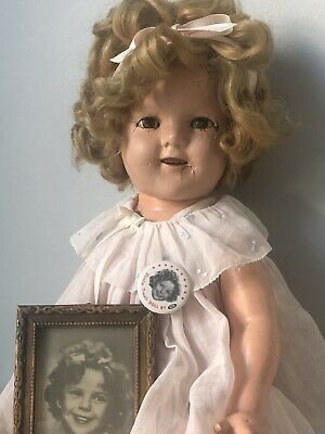 "Vintage 1930's (?) Ideal 18"" Shirley Temple Composition Doll in Original Dress"