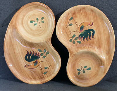 Pennsbury Pottery Green Rooster (2) Two Piece Lot Snack Plates